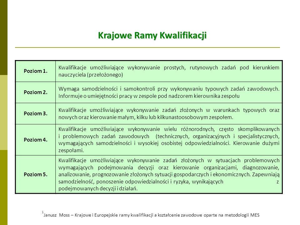Krajowe Ramy Kwalifikacji Poziom 1. Kwalifikacje umożliwiające wykonywanie prostych, rutynowych zadań pod kierunkiem nauczyciela (przełożonego) Poziom