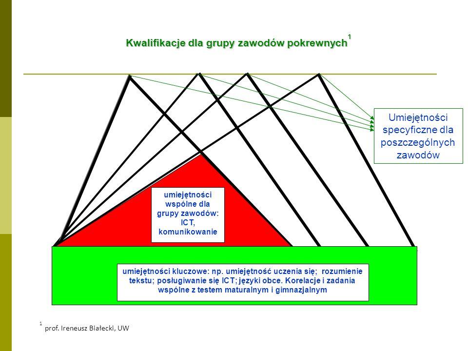 Kwalifikacje dla grupy zawodów pokrewnych 1 umiejętności wspólne dla grupy zawodów: ICT, komunikowanie umiejętności kluczowe: np. umiejętność uczenia