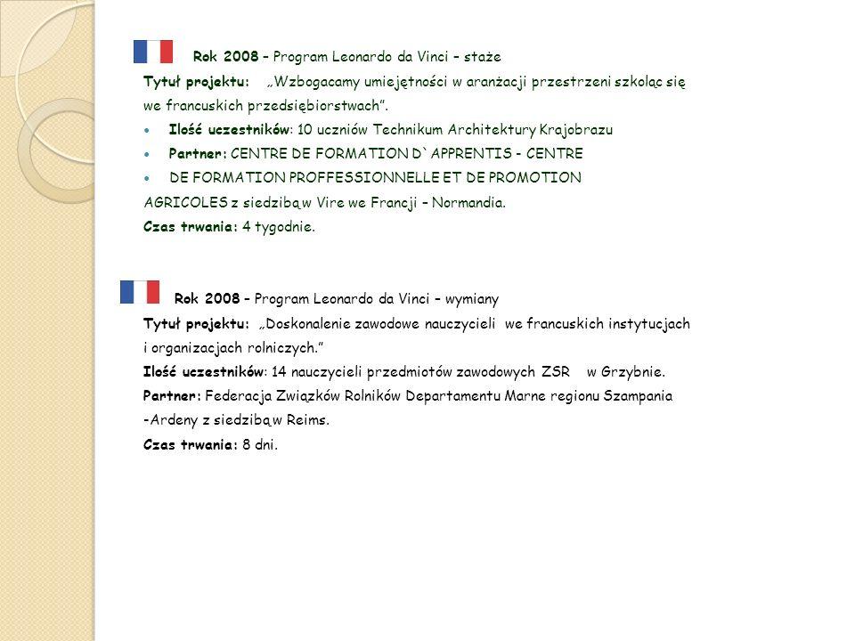 Rok 2008 – Program Leonardo da Vinci – staże Tytuł projektu: Wzbogacamy umiejętności w aranżacji przestrzeni szkoląc się we francuskich przedsiębiorstwach.
