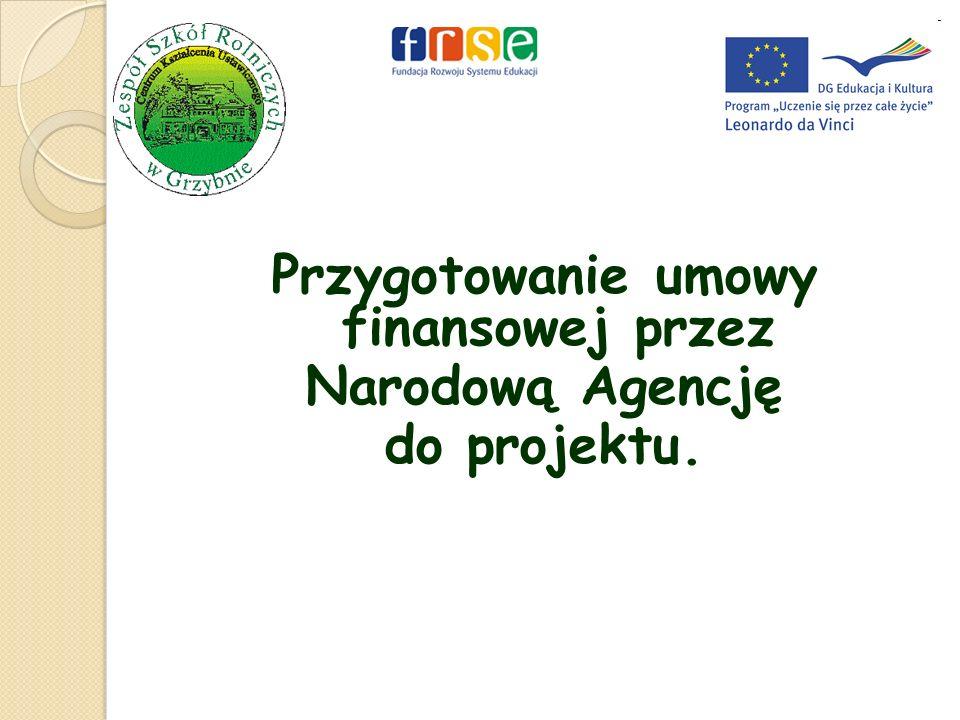 Przygotowanie umowy finansowej przez Narodową Agencję do projektu.