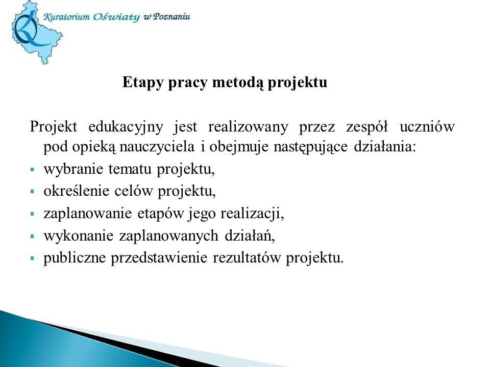 Etapy pracy metodą projektu Projekt edukacyjny jest realizowany przez zespół uczniów pod opieką nauczyciela i obejmuje następujące działania: wybranie