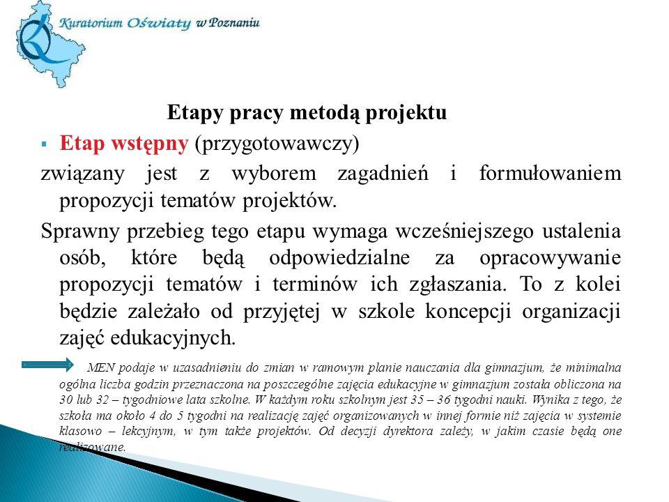 Etapy pracy metodą projektu Etap wstępny (przygotowawczy) związany jest z wyborem zagadnień i formułowaniem propozycji tematów projektów. Sprawny prze