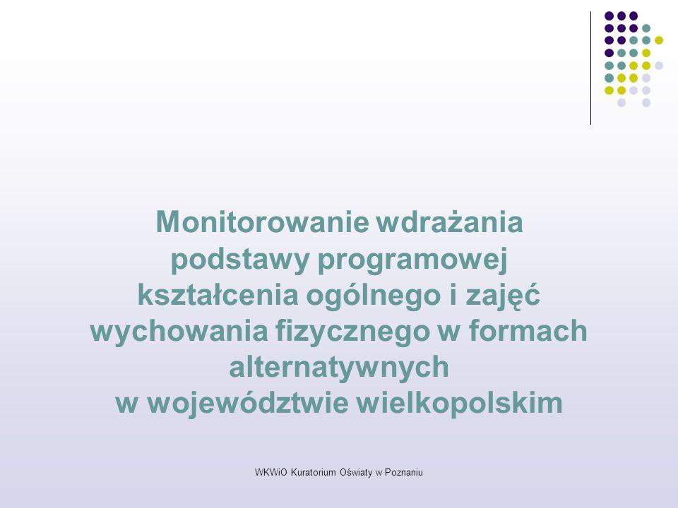WKWiO Kuratorium Oświaty w Poznaniu Monitorowanie wdrażania podstawy programowej kształcenia ogólnego i zajęć wychowania fizycznego w formach alternat