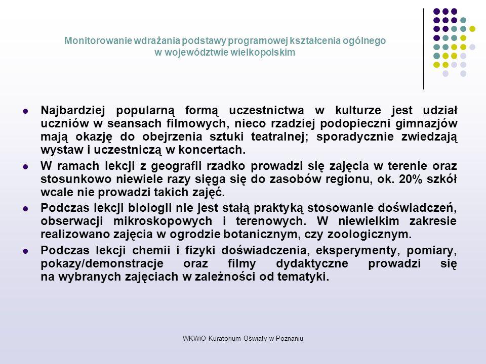 WKWiO Kuratorium Oświaty w Poznaniu Monitorowanie wdrażania podstawy programowej kształcenia ogólnego w województwie wielkopolskim Najbardziej popular