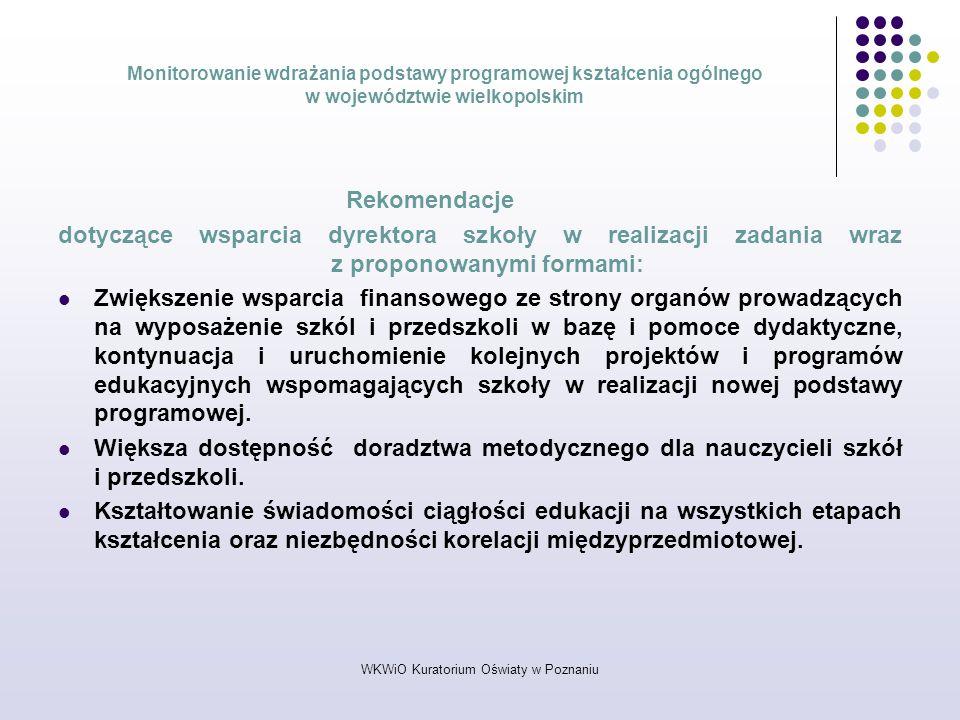 WKWiO Kuratorium Oświaty w Poznaniu Monitorowanie wdrażania podstawy programowej kształcenia ogólnego w województwie wielkopolskim Rekomendacje dotycz