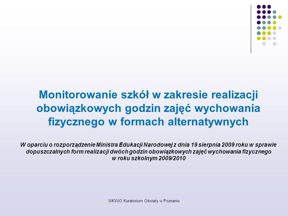 WKWiO Kuratorium Oświaty w Poznaniu Monitorowanie szkół w zakresie realizacji obowiązkowych godzin zajęć wychowania fizycznego w formach alternatywnyc