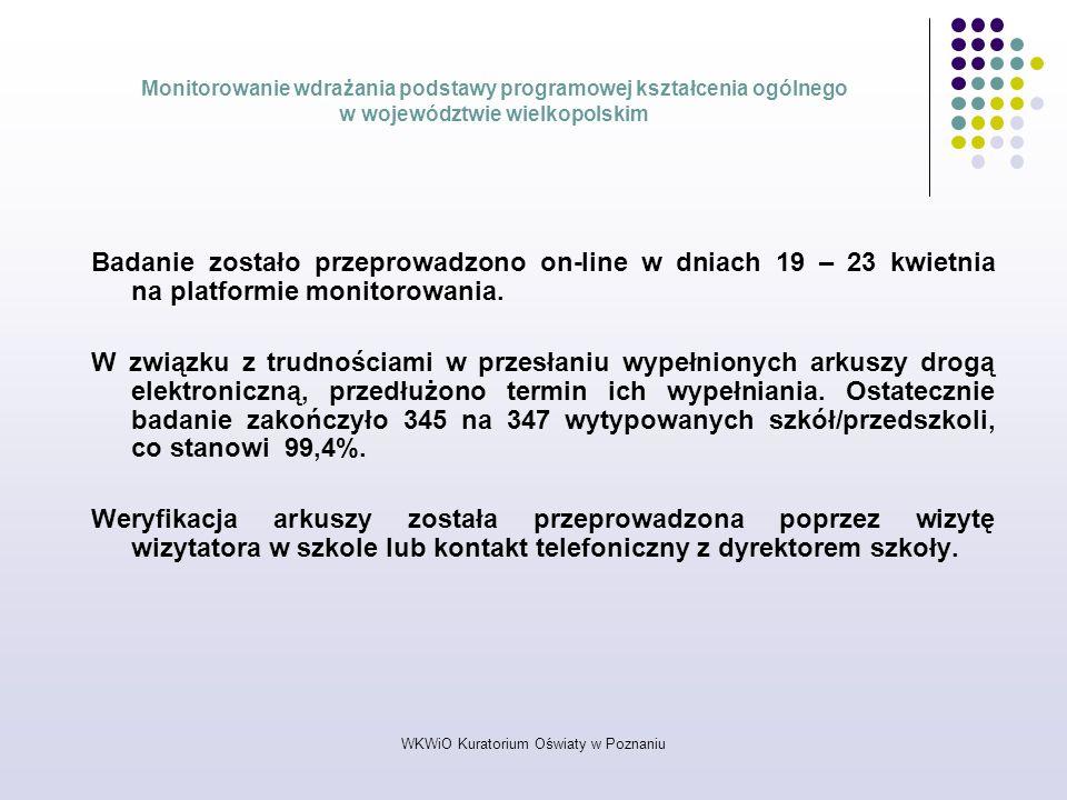 WKWiO Kuratorium Oświaty w Poznaniu Monitorowanie wdrażania podstawy programowej kształcenia ogólnego w województwie wielkopolskim Badanie zostało prz