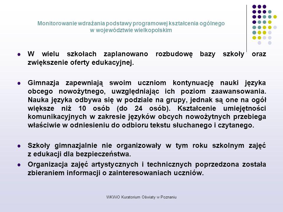 WKWiO Kuratorium Oświaty w Poznaniu Monitorowanie wdrażania podstawy programowej kształcenia ogólnego w województwie wielkopolskim W wielu szkołach za