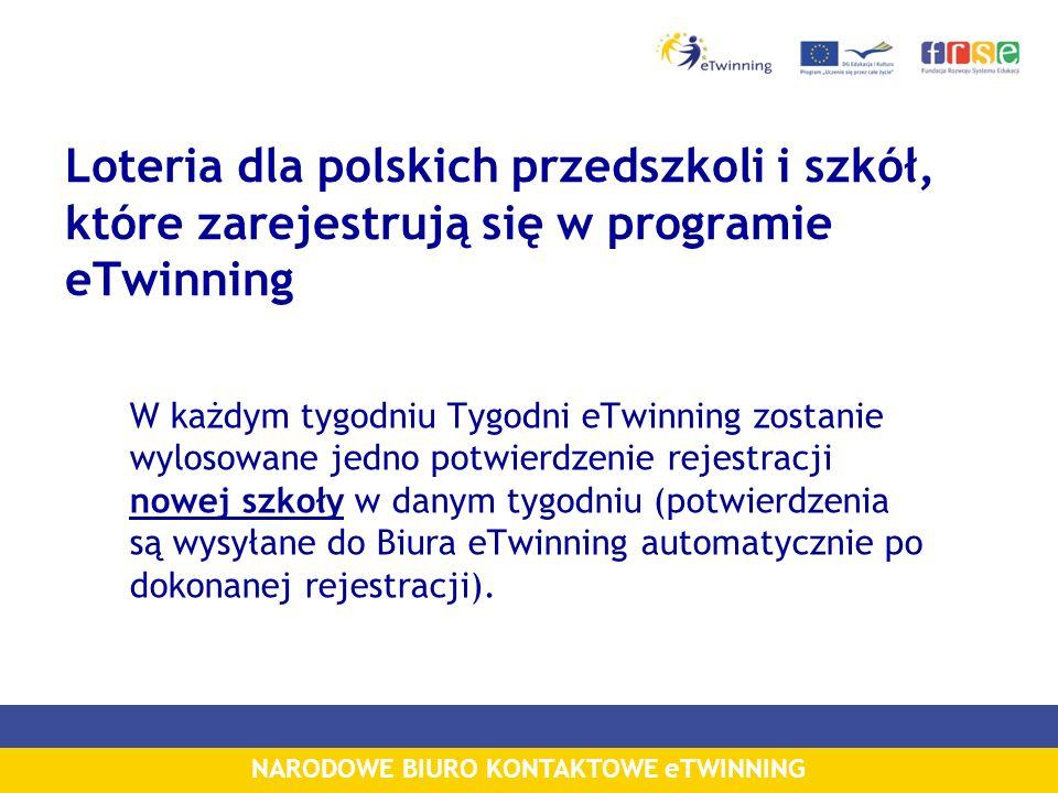 NARODOWE BIURO KONTAKTOWE eTWINNING Loteria dla polskich przedszkoli i szkół, które zarejestrują się w programie eTwinning W każdym tygodniu Tygodni eTwinning zostanie wylosowane jedno potwierdzenie rejestracji nowej szkoły w danym tygodniu (potwierdzenia są wysyłane do Biura eTwinning automatycznie po dokonanej rejestracji).