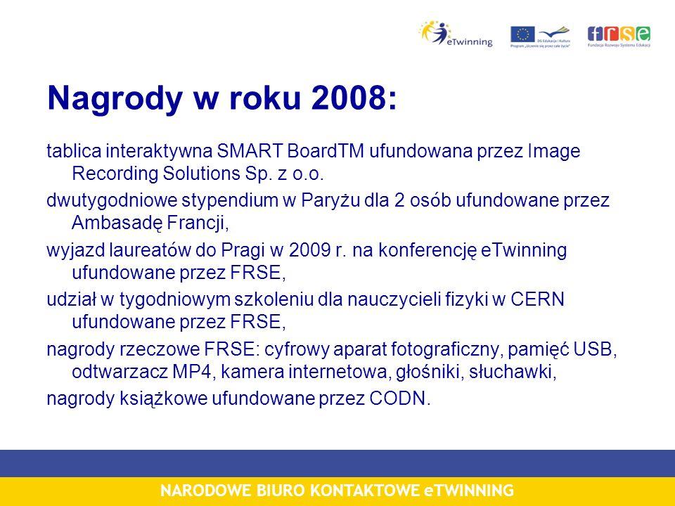 NARODOWE BIURO KONTAKTOWE eTWINNING Nagrody w roku 2008: tablica interaktywna SMART BoardTM ufundowana przez Image Recording Solutions Sp.