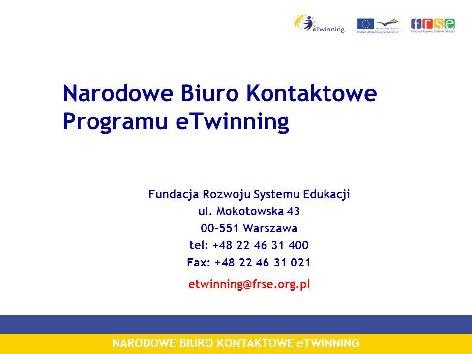 NARODOWE BIURO KONTAKTOWE eTWINNING Narodowe Biuro Kontaktowe Programu eTwinning Fundacja Rozwoju Systemu Edukacji ul.