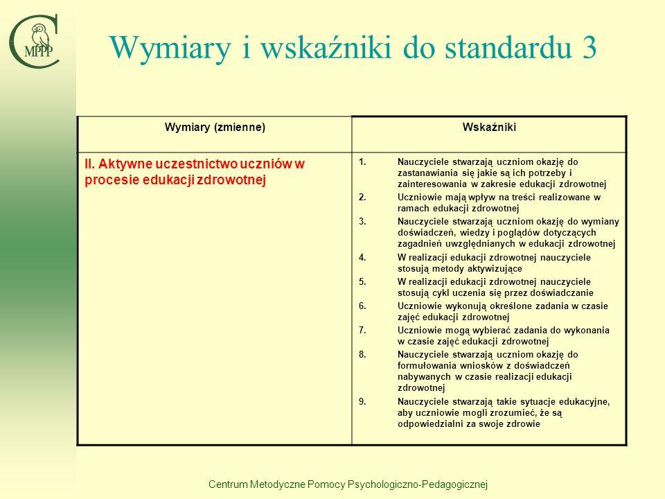 Centrum Metodyczne Pomocy Psychologiczno-Pedagogicznej Wymiary i wskaźniki do standardu 3 Wymiary (zmienne)Wskaźniki I. Włączenie edukacji zdrowotnej
