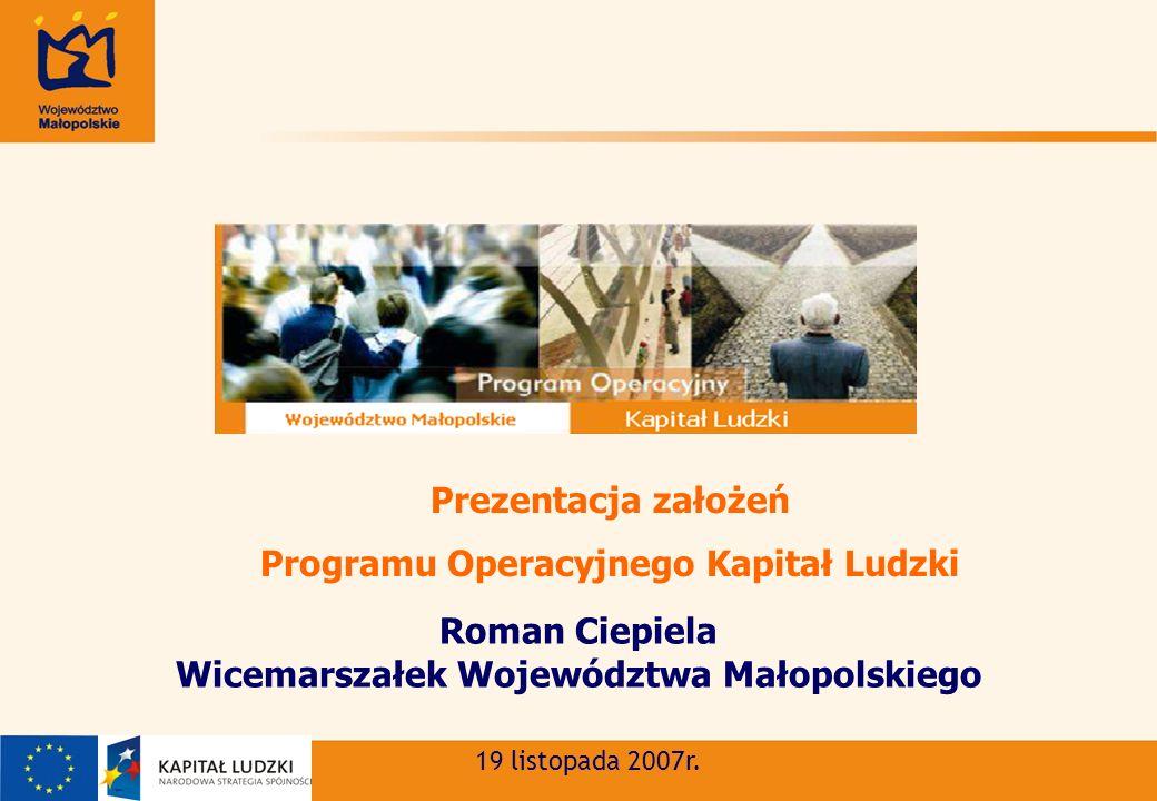 Roman Ciepiela Wicemarszałek Województwa Małopolskiego 19 listopada 2007r.