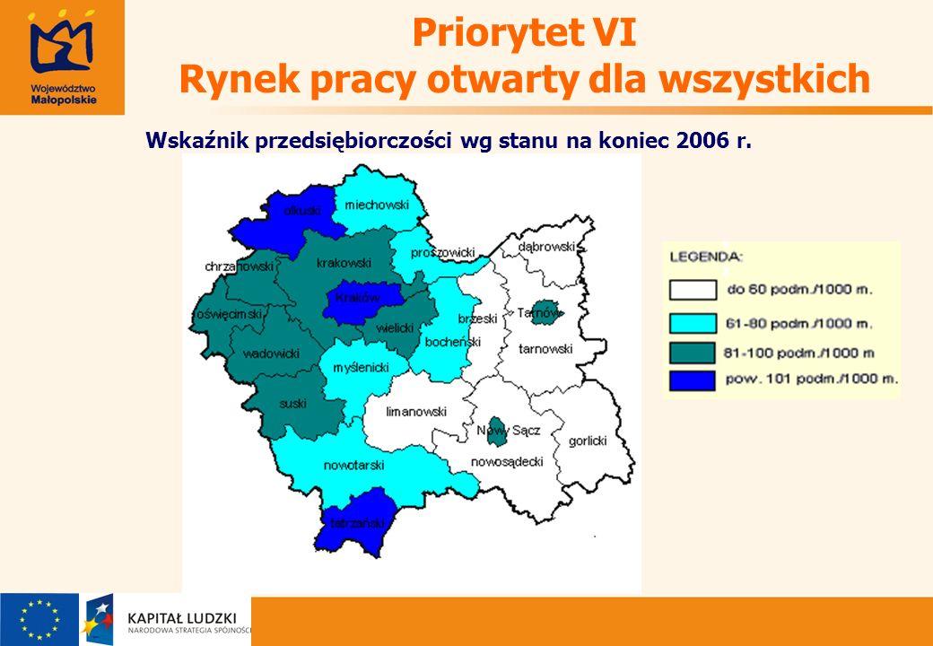 Wskaźnik przedsiębiorczości wg stanu na koniec 2006 r.