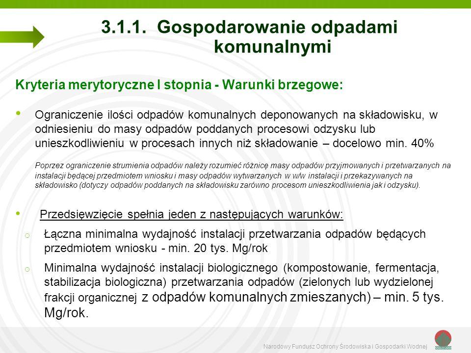 Narodowy Fundusz Ochrony Środowiska i Gospodarki Wodnej 3.1.1. Gospodarowanie odpadami komunalnymi Kryteria merytoryczne I stopnia - Warunki brzegowe: