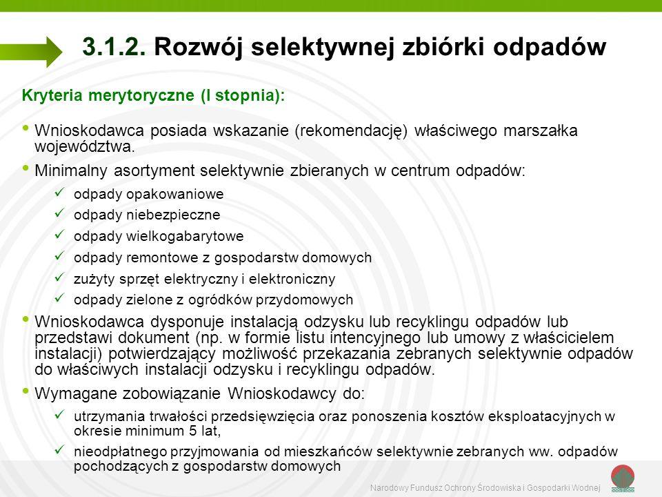 Narodowy Fundusz Ochrony Środowiska i Gospodarki Wodnej 3.1.2. Rozwój selektywnej zbiórki odpadów Kryteria merytoryczne (I stopnia): Wnioskodawca posi