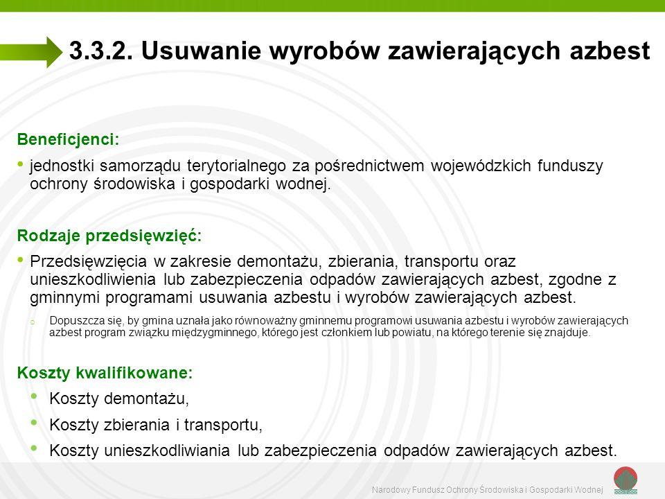 Narodowy Fundusz Ochrony Środowiska i Gospodarki Wodnej 3.3.2. Usuwanie wyrobów zawierających azbest Beneficjenci: jednostki samorządu terytorialnego
