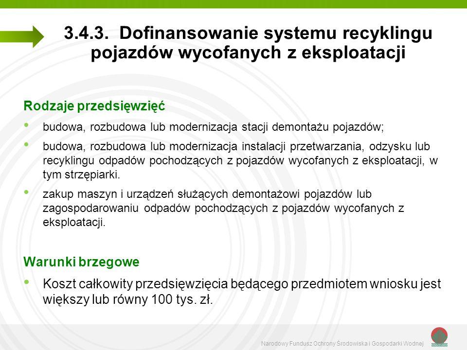 Narodowy Fundusz Ochrony Środowiska i Gospodarki Wodnej 3.4.3. Dofinansowanie systemu recyklingu pojazdów wycofanych z eksploatacji Rodzaje przedsięwz