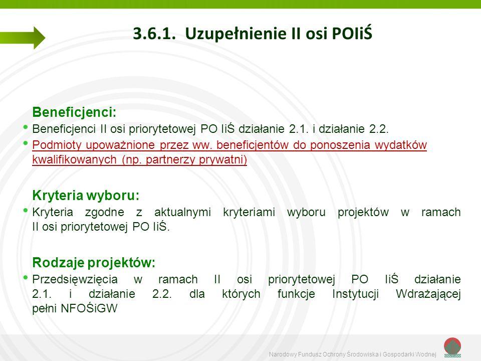 Narodowy Fundusz Ochrony Środowiska i Gospodarki Wodnej 3.6.1. Uzupełnienie II osi POIiŚ Beneficjenci: Beneficjenci II osi priorytetowej PO IiŚ działa