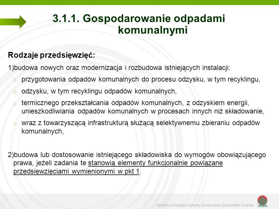 Narodowy Fundusz Ochrony Środowiska i Gospodarki Wodnej 3.1.1. Gospodarowanie odpadami komunalnymi Rodzaje przedsięwzięć: 1)budowa nowych oraz moderni