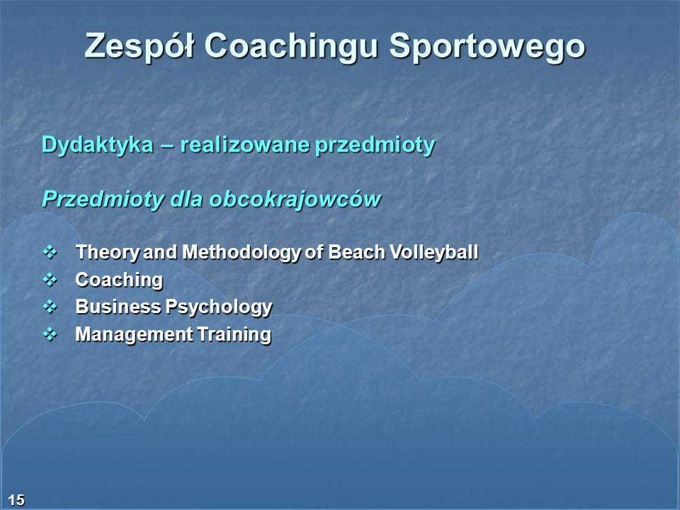 15 Dydaktyka – realizowane przedmioty Przedmioty dla obcokrajowców Theory and Methodology of Beach Volleyball Theory and Methodology of Beach Volleyba