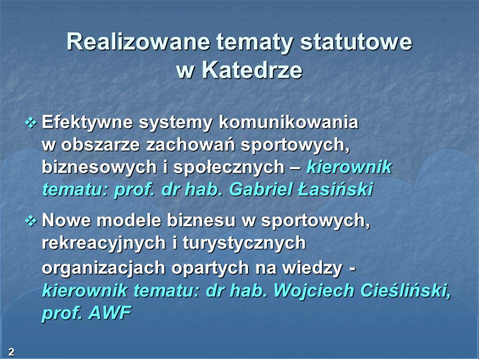 2 Realizowane tematy statutowe w Katedrze Efektywne systemy komunikowania w obszarze zachowań sportowych, biznesowych i społecznych – kierownik tematu