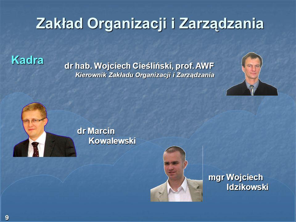 9 Zakład Organizacji i Zarządzania Kadra dr hab. Wojciech Cieśliński, prof. AWF Kierownik Zakładu Organizacji i Zarządzania dr Marcin Kowalewski Kowal