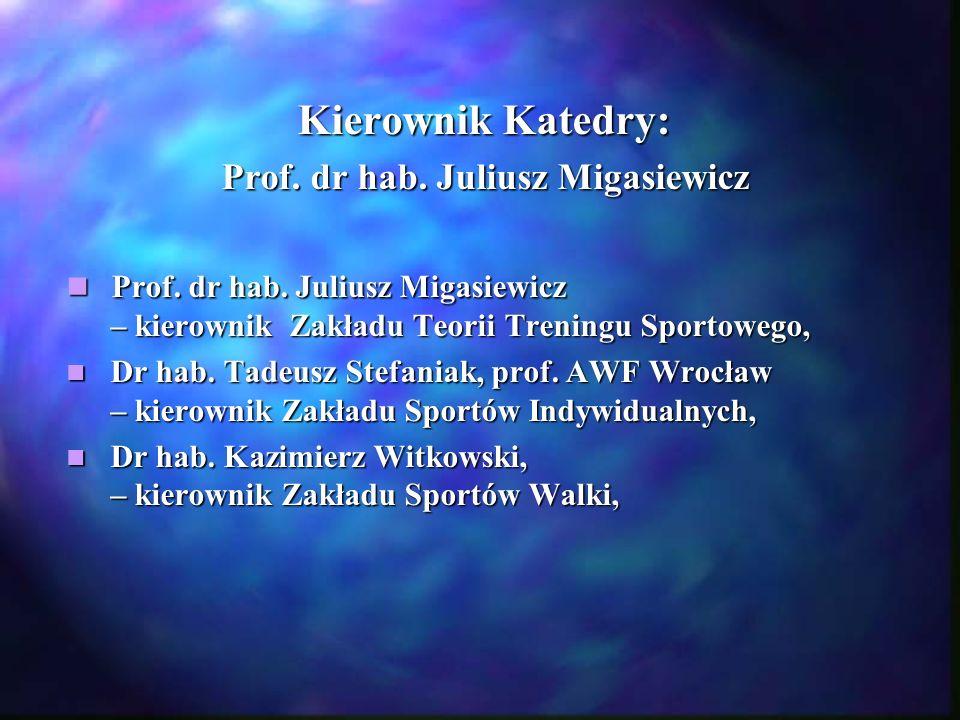 Kierownik Katedry: Prof. dr hab. Juliusz Migasiewicz Prof. dr hab. Juliusz Migasiewicz – kierownik Zakładu Teorii Treningu Sportowego, Prof. dr hab. J