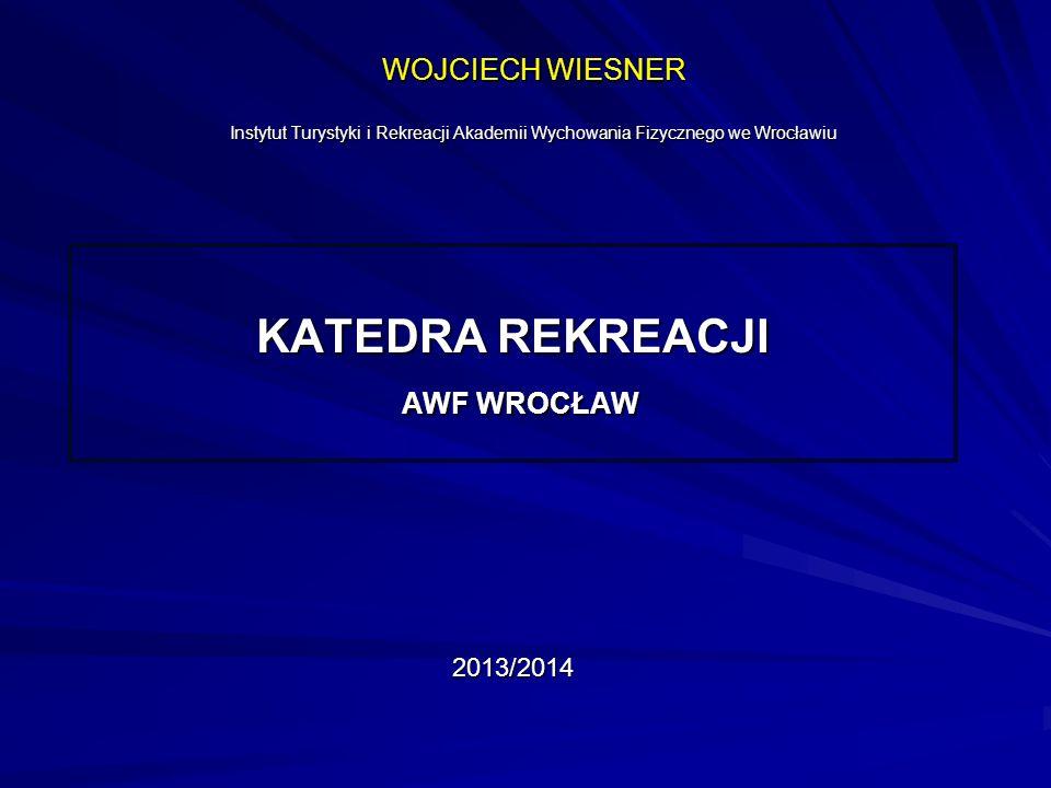 WOJCIECH WIESNER Instytut Turystyki i Rekreacji Akademii Wychowania Fizycznego we Wrocławiu KATEDRA REKREACJI AWF WROCŁAW AWF WROCŁAW2013/2014