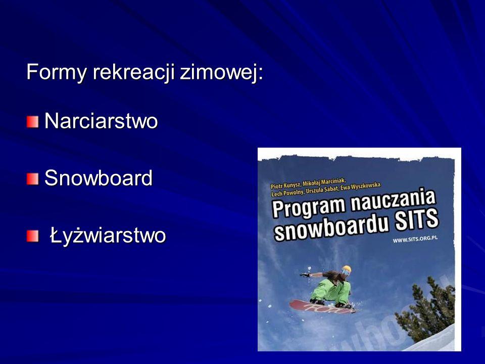 Formy rekreacji zimowej: NarciarstwoSnowboard Łyżwiarstwo Łyżwiarstwo
