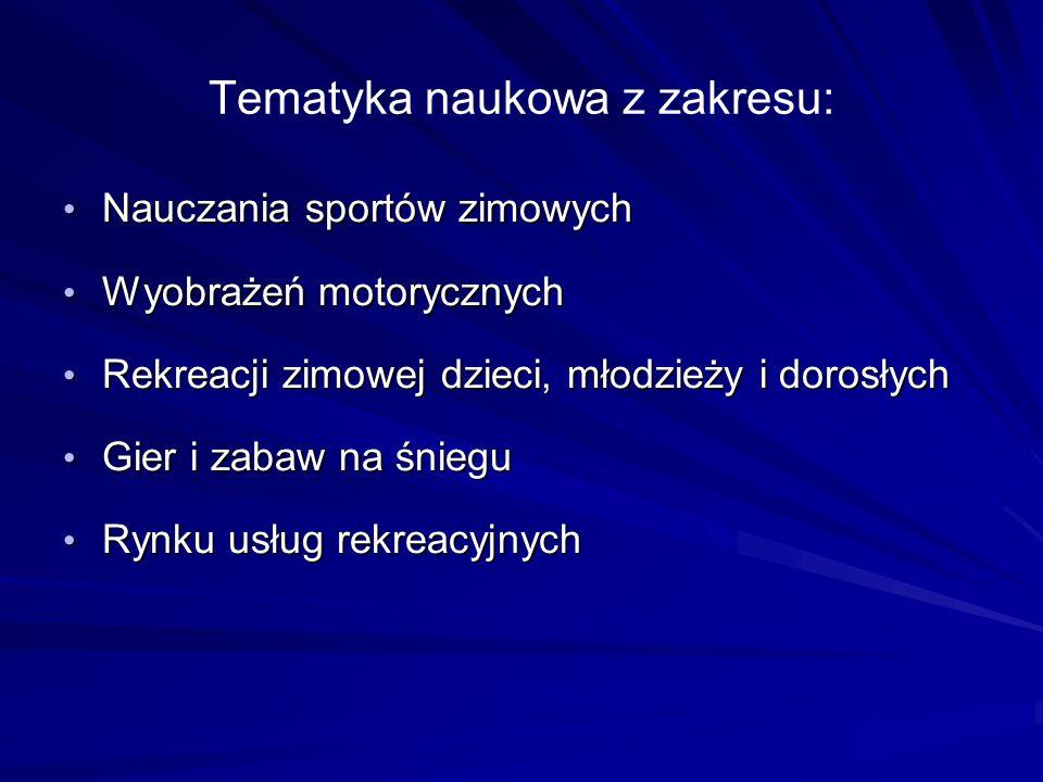 Tematyka naukowa z zakresu: Nauczania sportów zimowych Nauczania sportów zimowych Wyobrażeń motorycznych Wyobrażeń motorycznych Rekreacji zimowej dzie