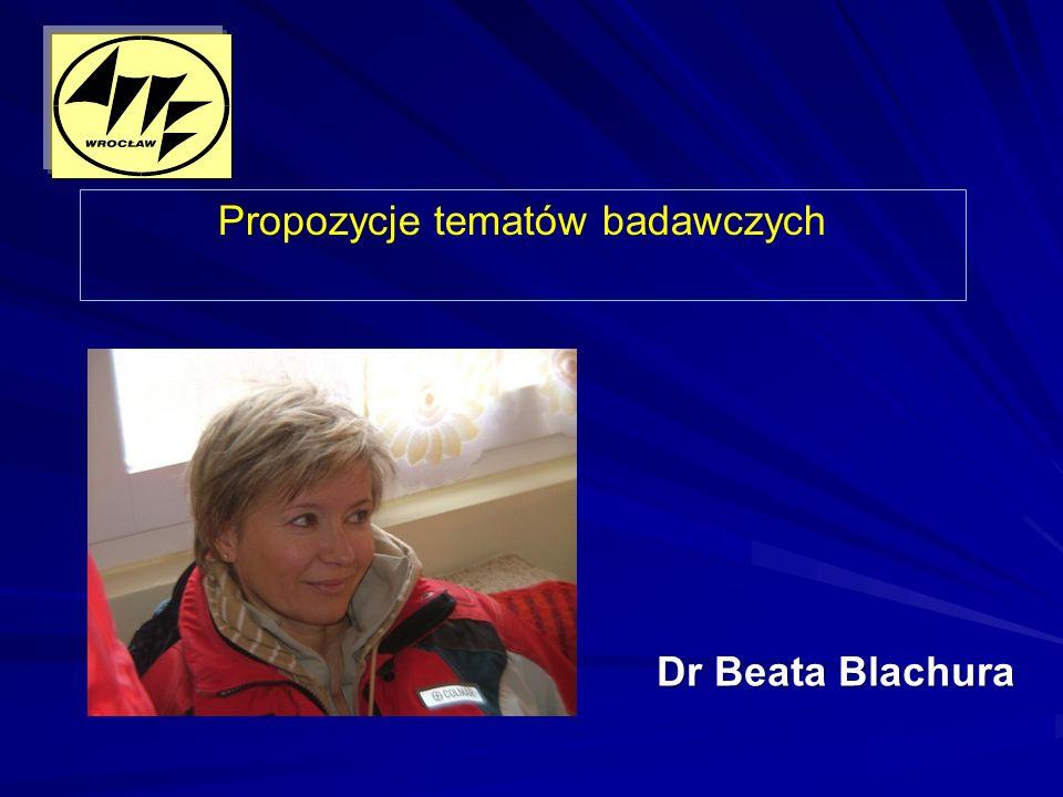 Dr Beata Blachura Propozycje tematów badawczych