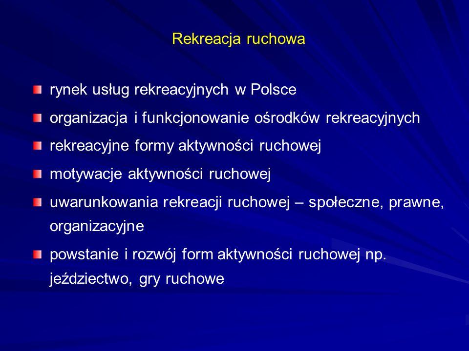 Rekreacja ruchowa rynek usług rekreacyjnych w Polsce organizacja i funkcjonowanie ośrodków rekreacyjnych rekreacyjne formy aktywności ruchowej motywac