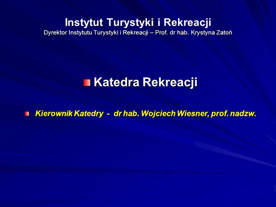 Dyrektor Instytutu Turystyki i Rekreacji – Prof. dr hab. Krystyna Zatoń Instytut Turystyki i Rekreacji Dyrektor Instytutu Turystyki i Rekreacji – Prof