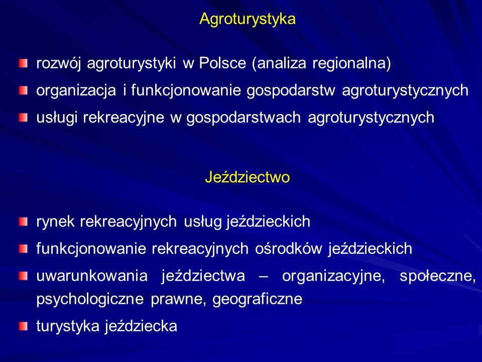Agroturystyka rozwój agroturystyki w Polsce (analiza regionalna) organizacja i funkcjonowanie gospodarstw agroturystycznych usługi rekreacyjne w gospo