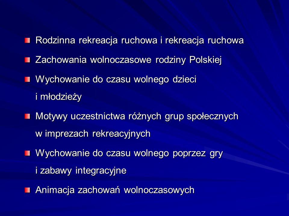 Rodzinna rekreacja ruchowa i rekreacja ruchowa Zachowania wolnoczasowe rodziny Polskiej Wychowanie do czasu wolnego dzieci i młodzieży Motywy uczestni