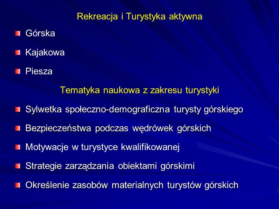 Rekreacja i Turystyka aktywna Górska Kajakowa Piesza Tematyka naukowa z zakresu turystyki Sylwetka społeczno-demograficzna turysty górskiego Bezpiecze