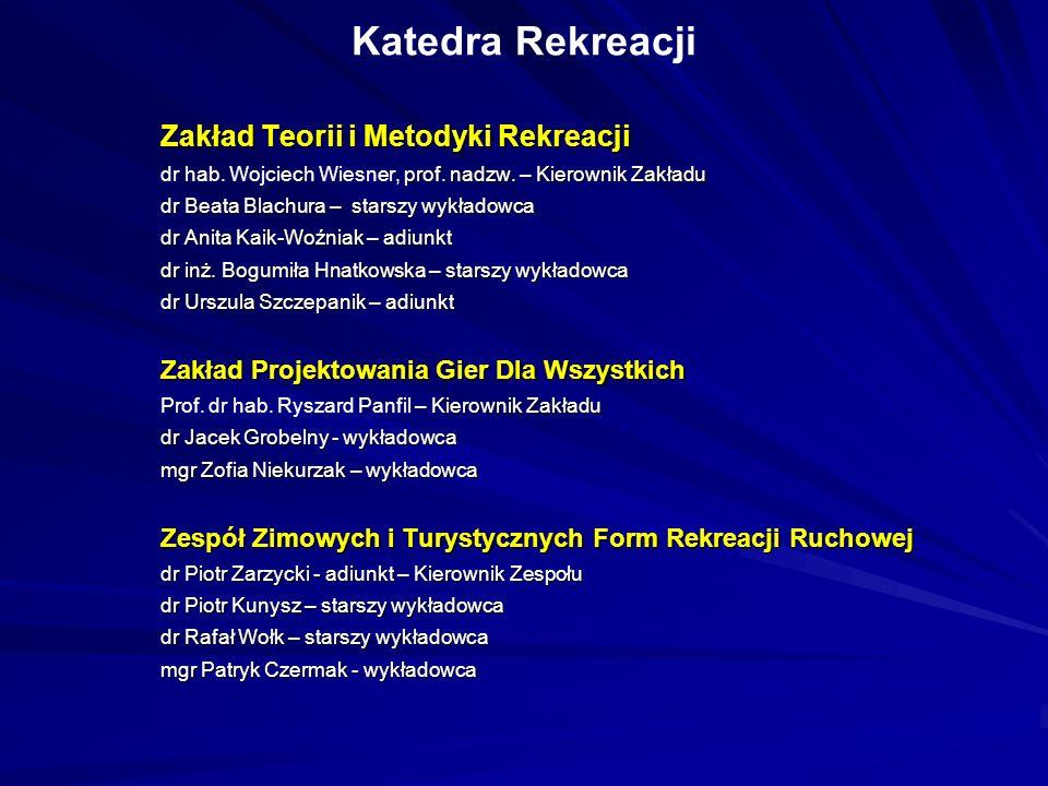 Katedra Rekreacji Zakład Teorii i Metodyki Rekreacji prof. nadzw. – Kierownik Zakładu dr hab. Wojciech Wiesner, prof. nadzw. – Kierownik Zakładu dr Be