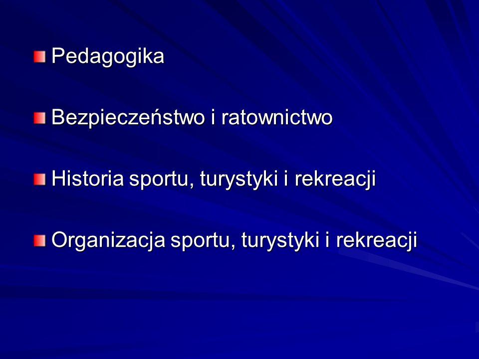 Pedagogika Bezpieczeństwo i ratownictwo Historia sportu, turystyki i rekreacji Organizacja sportu, turystyki i rekreacji