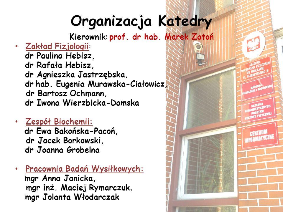 Organizacja Katedry Kierownik: prof. dr hab. Marek Zatoń Zakład Fizjologii: dr Paulina Hebisz, dr Rafała Hebisz, dr Agnieszka Jastrzębska, dr hab. Eug
