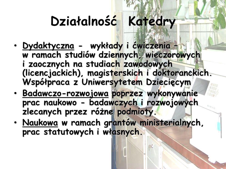 Działalność Katedry Dydaktyczna - wykłady i ćwiczenia – w ramach studiów dziennych, wieczorowych i zaocznych na studiach zawodowych (licencjackich), m