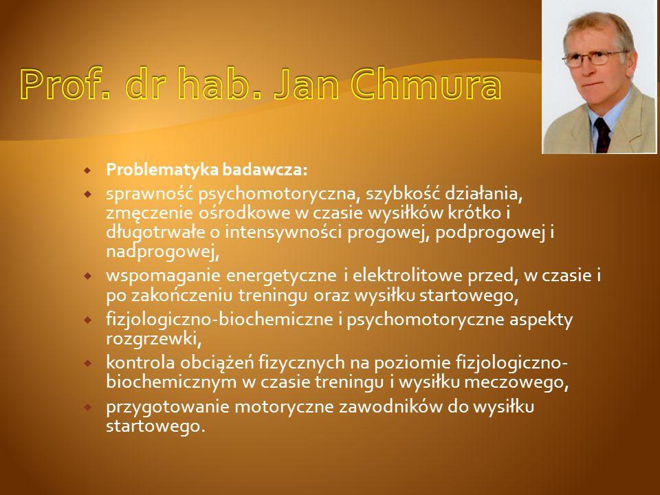 Problematyka badawcza: ZMĘCZENIE CENTRALNE I OBWODOWE: badanie w warunkach walki sportowej i treningu; CZYNNOŚĆ MECHANOMIOGRAFICZNA I ELEKTROMIOGRAFICZNA MIĘŚNI SZKIELETOWYCH: - w aspekcie adaptacji do treningu; - w opóźnionej bolesności mięśniowej; - w chorobach nerwowo-mięśniowych i stanach przewlekłego bólu mięśniowego.