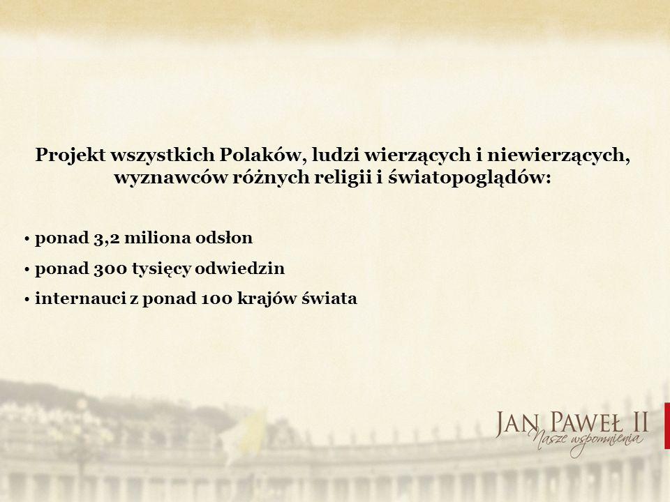 Projekt wszystkich Polaków, ludzi wierzących i niewierzących, wyznawców różnych religii i światopoglądów: ponad 3,2 miliona odsłon ponad 300 tysięcy odwiedzin internauci z ponad 100 krajów świata