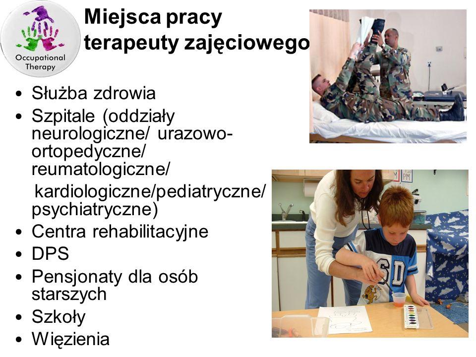 Miejsca pracy terapeuty zajęciowego Służba zdrowia Szpitale (oddziały neurologiczne/ urazowo- ortopedyczne/ reumatologiczne/ kardiologiczne/pediatrycz