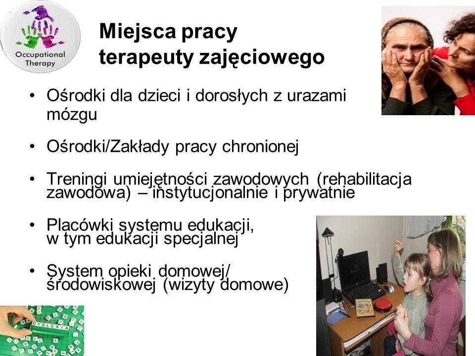 Miejsca pracy terapeuty zajęciowego Ośrodki dla dzieci i dorosłych z urazami mózgu Ośrodki/Zakłady pracy chronionej Treningi umiejętności zawodowych (