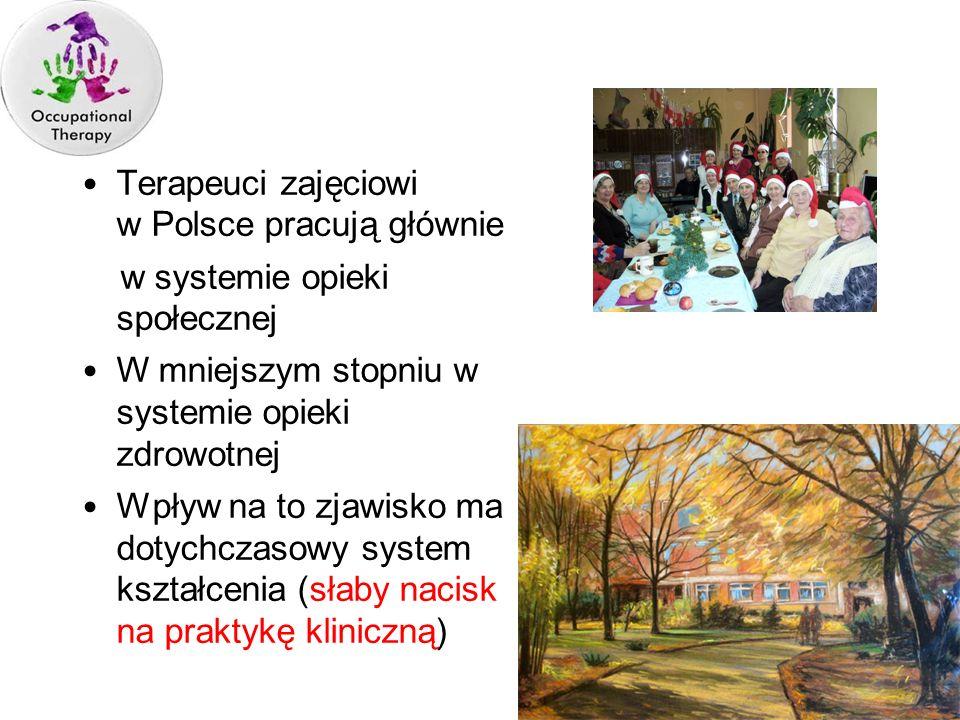 Terapeuci zajęciowi w Polsce pracują głównie w systemie opieki społecznej W mniejszym stopniu w systemie opieki zdrowotnej Wpływ na to zjawisko ma dot