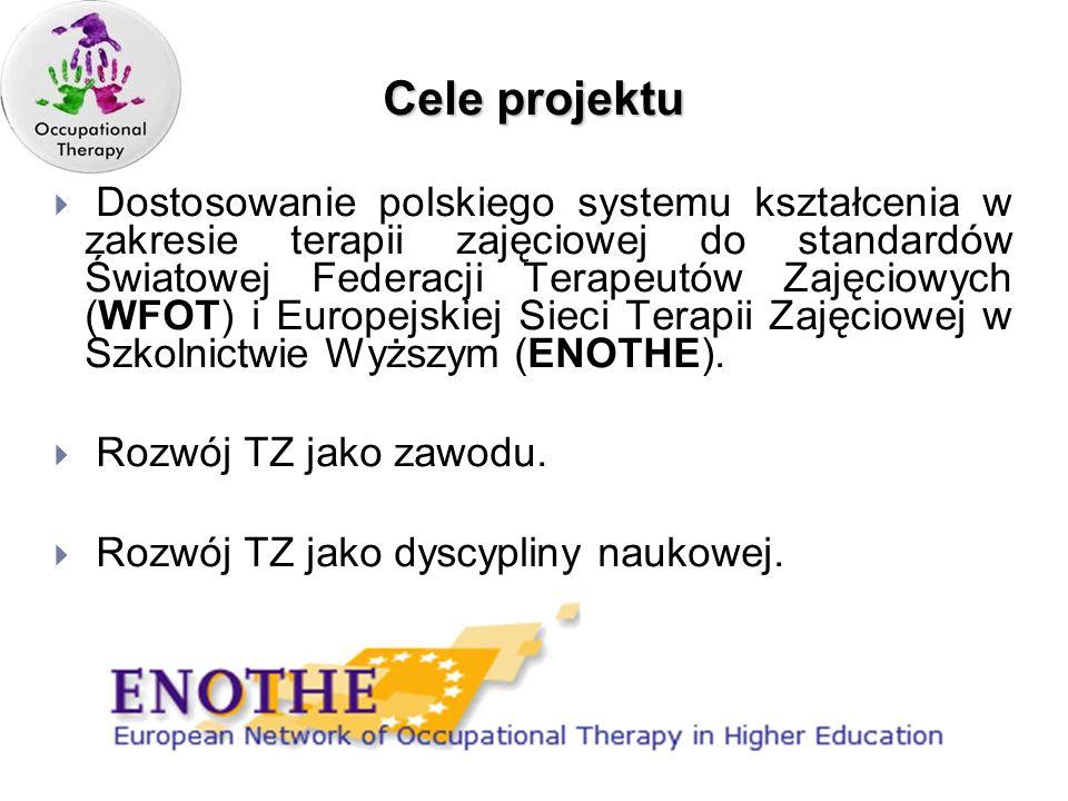 Cele projektu Dostosowanie polskiego systemu kształcenia w zakresie terapii zajęciowej do standardów Światowej Federacji Terapeutów Zajęciowych (WFOT)