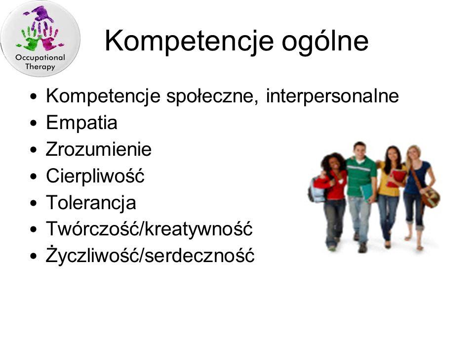 Kompetencje społeczne, interpersonalne Empatia Zrozumienie Cierpliwość Tolerancja Twórczość/kreatywność Życzliwość/serdeczność Kompetencje ogólne