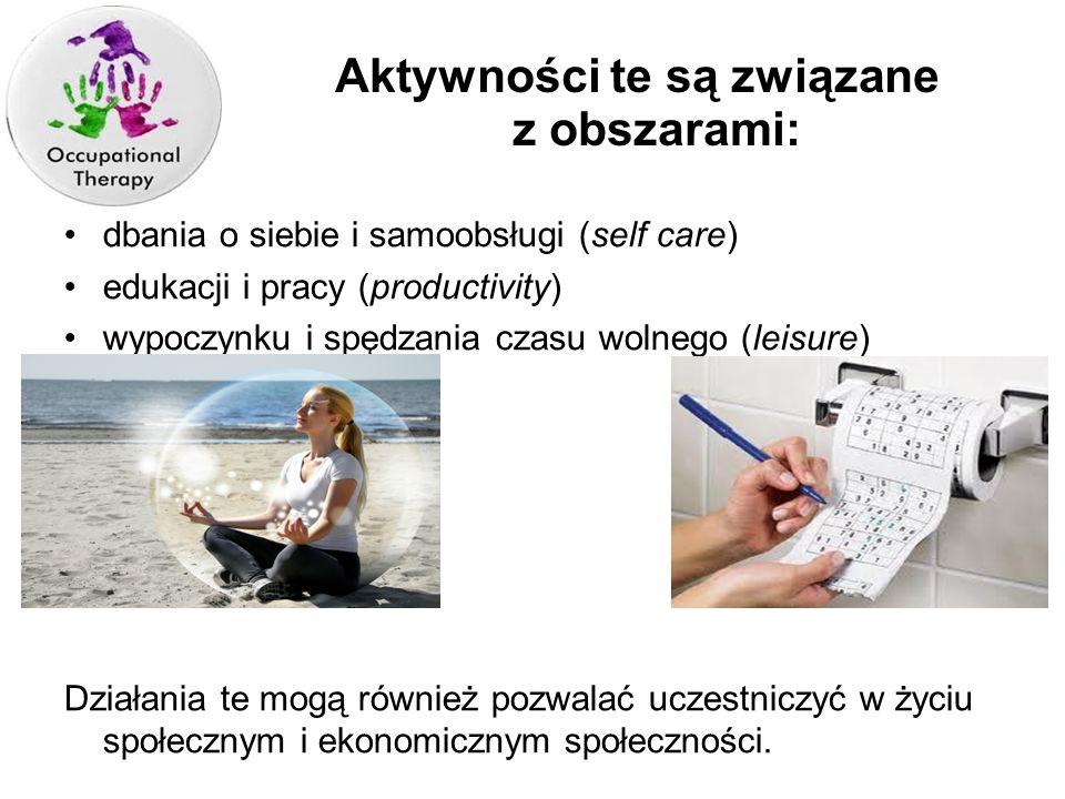 dbania o siebie i samoobsługi (self care) edukacji i pracy (productivity) wypoczynku i spędzania czasu wolnego (leisure) Działania te mogą również poz