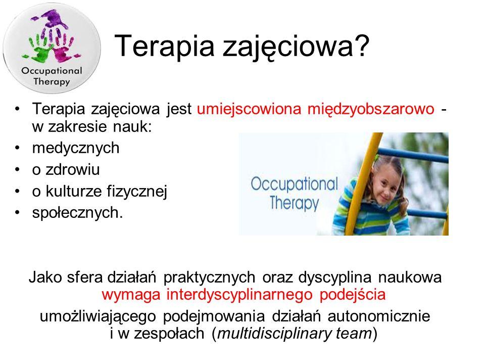 Terapeuci zajęciowi w Polsce pracują głównie w systemie opieki społecznej W mniejszym stopniu w systemie opieki zdrowotnej Wpływ na to zjawisko ma dotychczasowy system kształcenia (słaby nacisk na praktykę kliniczną)